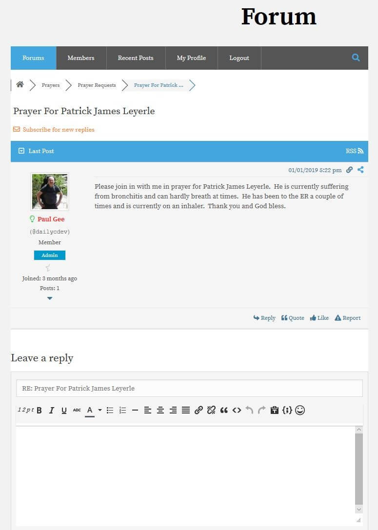 DailyCDev_Forum_PrayerRequests_PatrickJamesLeyerle